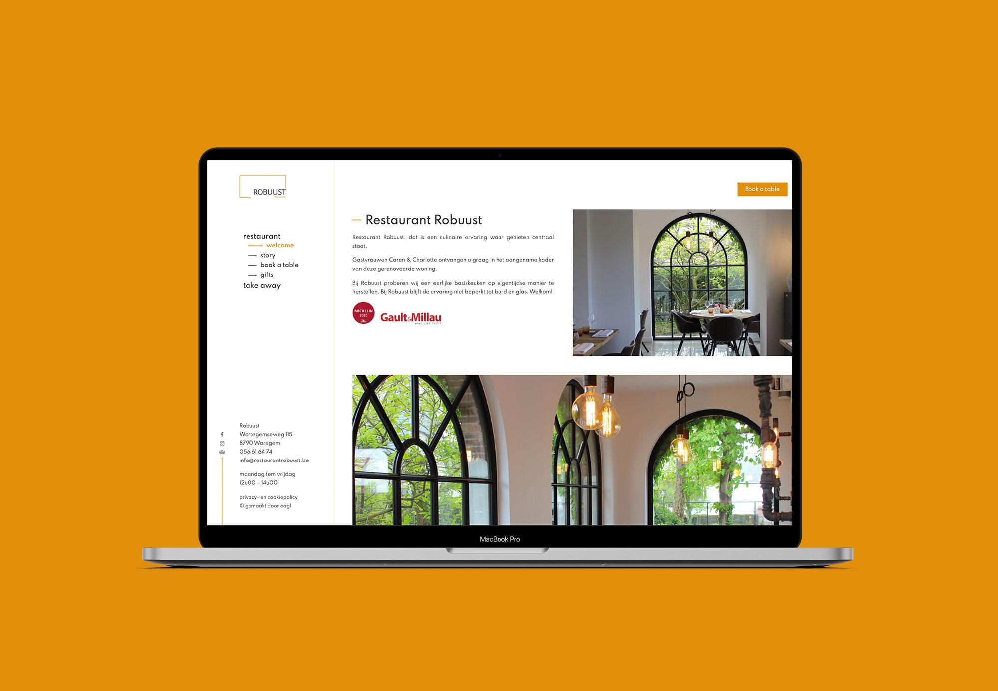 Website met webshop voor Restaurant Robuust uit Waregem - Eagl