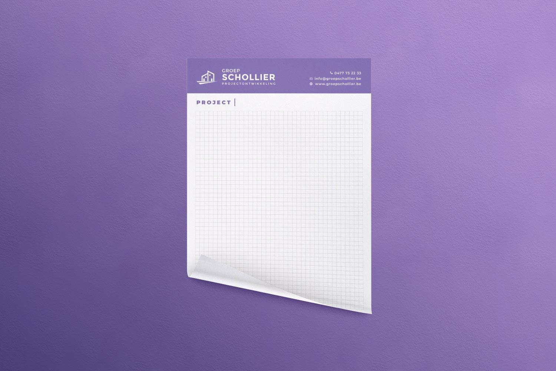 Design voor notitieblokken voor Groep Schollier uit Torhout - Eagl